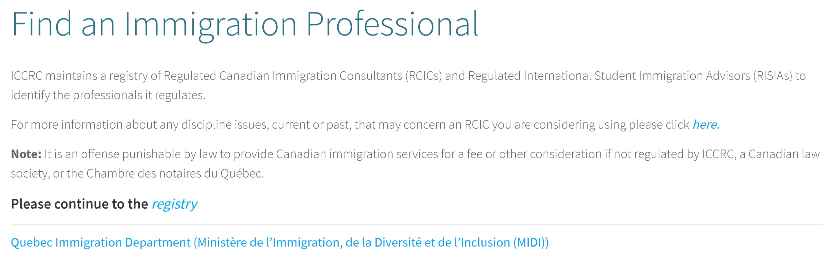 ICCRC MEMBER CHECK PROCESS - Encubate Immigration Services